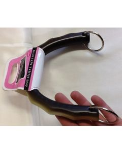 Tassenbeugel  half rond  bruin/creme met handgreep en zilveren ringen om de tas te bevestigen, 15cm lang.