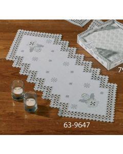 De afm van dit kleedje is 26x67cm. Dit pakket is incl stof White Hardanger 9/22'' with pearl yarn met garen en een naald.