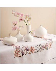 Voorbedrukt tafelkleed tulpen en orchideen Rico Design 67399.54.21 borduren 95x95cm