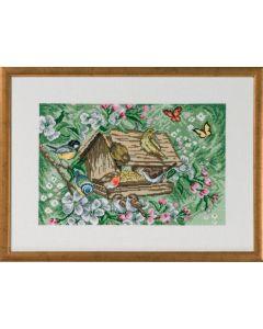Permin borduurpakket vogelhuisje in de tuin om te borduren 90-9395