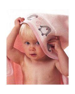 Rico Design baby cape met aida rand op capuchon om te borduren baby roze 740221.65