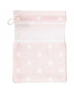 Rico Design washand met aida rand om te borduren roze met stippen 740244.73