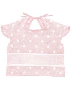 Baby slab met mouwtjes en een aida rand om te borduren rose met stippen Rico Design 740244.76
