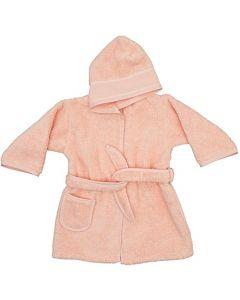 Rico Design baby badjas met aida rand op capuchon in zalm 740262.00