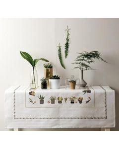 Borduurpakket tafelkleed met telpatroon planten Rico design 80048.52.21