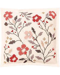 Borduurpakket vilten kussen bloemen  om te borduren Rico 80159.52.78