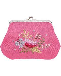 Borduurpakket portemonnee bloemen telwerk op linnen van rico design 80170.52.00