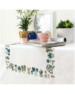 Borduurpakket tafelkleed met telpatroon  cactussen en planten Rico design 80276.52.21
