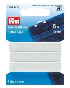 Katoenband wit 10mm breed van Prym