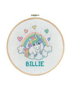 Borduurpakket geboortetegel eenhoorn op wolken Billie Permin 92-0744