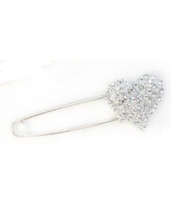 Kilt veiligheidsspeld hart met strass diamantjes
