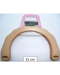 Tassenbeugel hout en rond. Buitenmaat 21cm en binnenmaat 14cm.