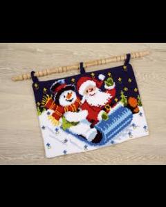 Voorbedrukt kruissteek wandtapijt adventkalender in de arreslee van vervaco