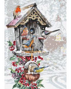 Luca-s borduurpakket vogelhuis in de winter om te borduren B2399