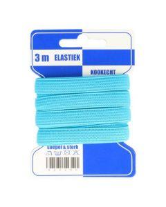 Blauwe kaart elastiek turkoois 10mm en 3 meter