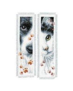Borduurpakket 2 boekenleggers hond en poes van vervaco pn-0155651