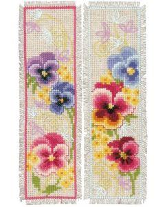Vervaco borduurpakket 2 boekenlegger van viooltjes borduren pn-0169653