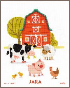 Borduurpakket geboortetegel op de boerderij van Vervaco pn-0163176