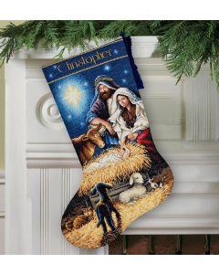 Borduurpakket Kerstsok holy night - kerststal Dimensions gold collection 70-08838