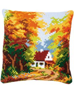 Borduurpakket kruissteekkussen huisje in herfstbos van Vervaco pn-0146247