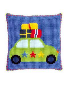 Borduurpakket kruissteekkussen op vakantie met de auto incl. kussenrug van Lief