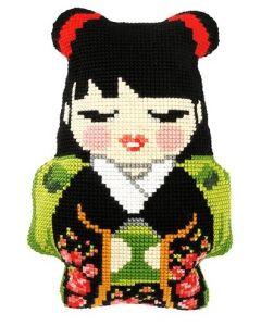 Borduurpakket kussenpakket Japanse Girl  orchidea 9320