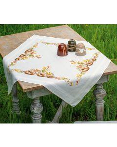 Borduurpakket tafelkleed egeltjes in herfstbladeren van Vervaco pn-0147426