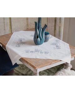 Borduurpakket tafelkleed kleurige bloemen van Vervaco pn-0169849 voorbedrukt borduren