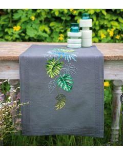 Borduurpakket tafelloper botanische bladeren van Vervaco PN-088625 voorbedrukt