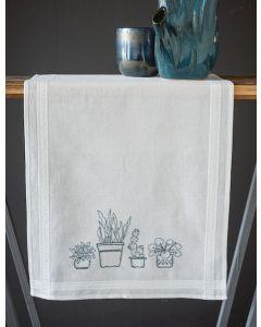 Borduurpakket tafelloper huiskamerplanten van Vervaco PN-0187772 voorbedrukt om te borduren.