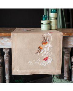Borduurpakket tafelloper roodborstjes in de winter van Vervaco PN-0187947