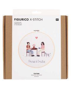 Borduurpakket teatime  van rico  Design 100115 incl borduurring