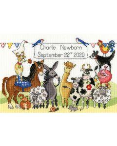 Borty Treads borduurpakket geboorte dierenfeest  xnb6