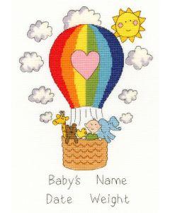 Borty Treads borduurpakket geboorte luchtballoon  xnb8