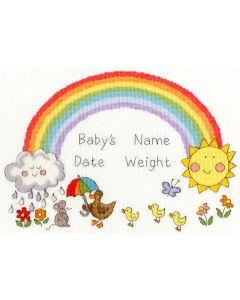 Borty Treads borduurpakket geboorte regenboog  xnb7