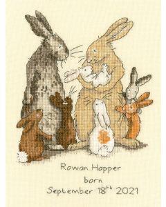 Borty Treads borduurpakket geboortetegel konijnen familie XAJ15