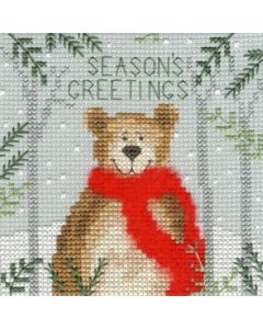 Borduurpakket wenskaart Xmas Bear - Bothy Threads xmas09 om te borduren