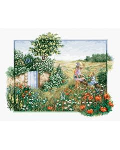 Luca-s Borduurpakket Landscape with poppies - landschap met bloemen om te borduren bu4013
