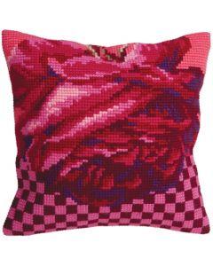 Borduurpakket voorbedrukt kruissteekkussen rose cocktail Collection d'Art 5107