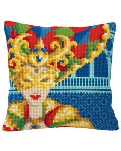 Borduurpakket voorbedrukt kruissteekkussen Carnaval de Venise Femme Collection d'Art 5129