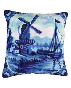 Voorbedrukt kruissteek kussen  Delfts Blauw als borduurpakket