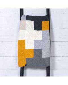 Durable haakpakket Criss-Cross Blanket Grey/Yellow