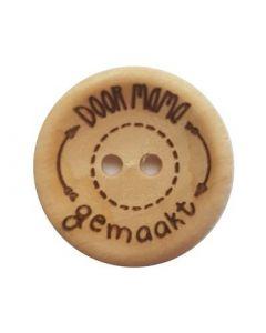 Durable houten tekst knoop 'Door mama gemaakt' 30mm