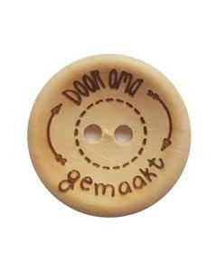 Durable houten tekst knoop 'Door oma gemaakt' 30mm