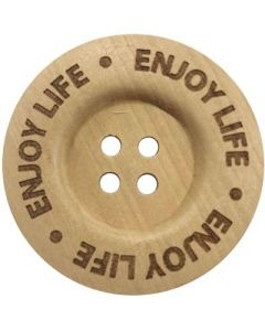 Durable houten tekst knoop 'Enjoy life' 40mm