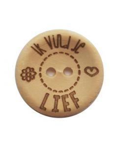 Durable houten tekst knoop 'Ik vind je lief'  20mm