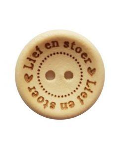 Durable houten tekst knoop 'lief en stoer' 20mm