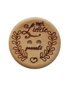 Durable houten tekst knoop 'Met liefde gemaakt' 30mm