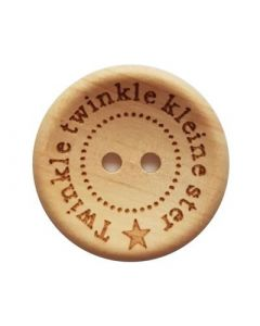 Durable houten tekst knoop 'Twinkle Twinkle' 20mm