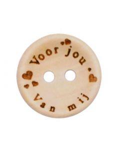 Durable houten tekst knoop 'Voor jou van mij'  20mm